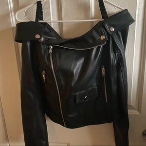Off shoulder leather jacket from forever 21